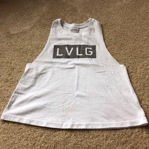 LVLG white muscle crop tank